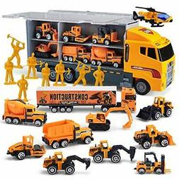 JOYIN 11 in 1 Die-cast Construction Truck Vehicle Car Toy Se