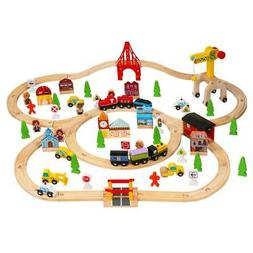 100 PCS Hand Crafted Wooden Train Set Crossing Railway Track