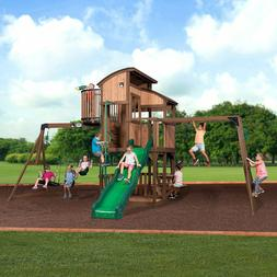 100% Cedar Lumber Play Set Skyfort Elite Swing Set by Backya