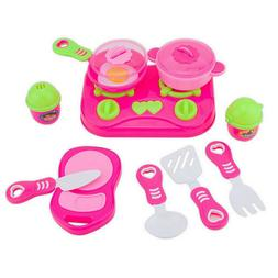 11Pcs Kids House Kitchen Toy Cooking Food Dishes Cookware Pr