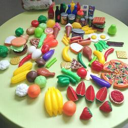 120Pcs Plastic Food Fruits Vegetables Toy Set Kitchen Preten