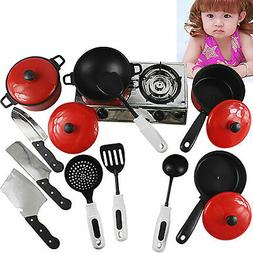 13PCS Kid Play House Toy Kitchen Utensils Cooking Pots Pans