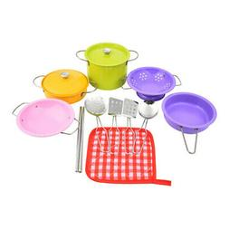 14pcs Kids Pretend Play Set Stainless Steel Pots and Pans Co