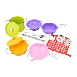14pc Stainless Steel Pots and Pans Cookware Playset for kids