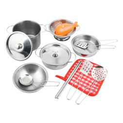 16pc Stainless Steel Pots and Pans Cookware Playset for kids