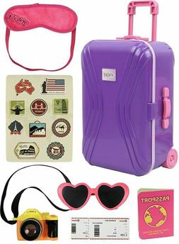 "18"" inch Doll Travel Luggage Suitcase Playset for American"