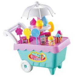 19Pcs Ice Cream Store Playset w/ Music & Lights Pretend Play