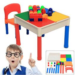 2 In 1 Kids Child Play Table Building Blocks Study Chairs Pl
