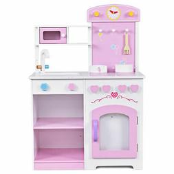 2 in 1 Kitchen Play Set Kids Wood Pretend Toy Cooking Set wi