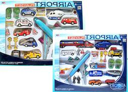 20 Piece Set - Airport PlaySet Airplanes Signs Cars Helicopt