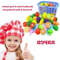 23Pcs Food Play Set Cut Fruit Vegetable Kids Toddler Toy Pre