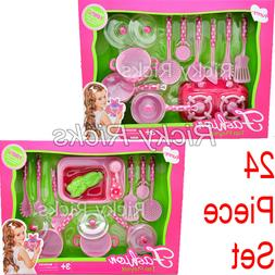 24 Piece Utensil Set Pretend Play Kitchen Play Set Toy Jugue