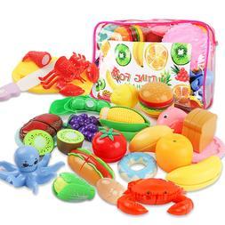 Liwoton 24pcs Cutting Food Toys Pretend Cutting Fruits Plays