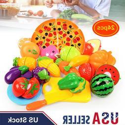 24Pcs Food Pizza Play Set Cut Fruit Vegetable Kids Toddler T