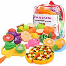 24pcs Set Fruits Vegetables Pretend Food Playset for Boys Gi