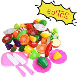 25Pcs/12Pcs Food Play Set Cut Fruit Vegetable Kids Toddler T