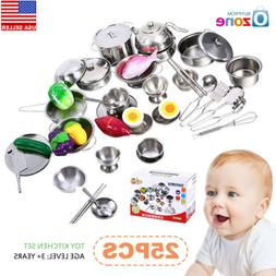 25Pcs Kids Pretend Role Play Kitchen Ware Cooking Utensil Ac
