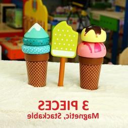 3 PIECES - Wooden Magnet Ice Cream Play Set Toy Kids Food Pr