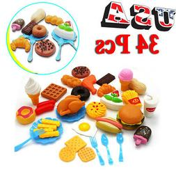 34pcs Kids Fun Play Food Set Kitchen Cooking Toys Lot Role P