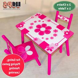3Pcs Wood Play Activity Table and Chair Set Children's kids