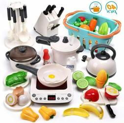 40PCS Kids Kitchen Play Toys Pretend Cookware Playset Gifts