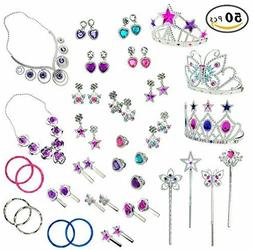50 PCS Princess Jewelry Dress Up Accessories Toy Playset for