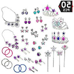 50 pcs Princess Jewelry Dress Accessories Toy Play set Perfe