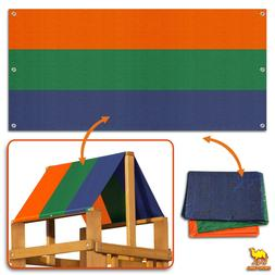"""50""""x90"""" Multi-Color Replacement Tarp Canopy Wood Playset Roo"""