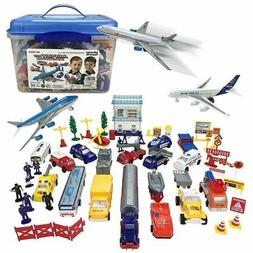57-Piece Kids Airport Playset Toy Includes Airplanes, Vehicl