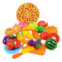 6-24pcs Food Play Set Cut Fruit Vegetable Kids Toddler Toy P