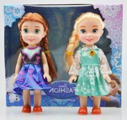"6"" Playset Frozen Princess Elsa&Anna Doll Figures toy Birthd"