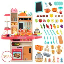 65PCS Kitchen Playset for Toddler Pretend Play Spray Steam W