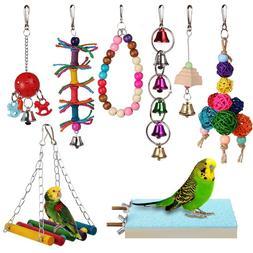8pcs Bird Ladder Swing Toys Play Set fun Colorful Hanging Be