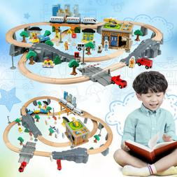 95PCS Wooden Train Set Railway Childrens Large Play Set Rail