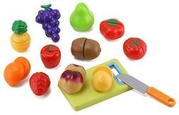 Click n' Play 12 pc Kids Pretend Play Cutting Fruit Toy Set,