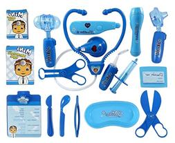 Liberty Imports Deluxe Blue Doctor Nurse Medical Kit Playset