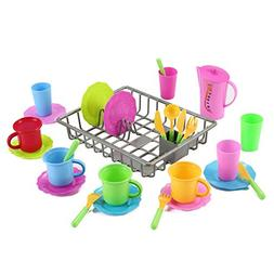 Liberty Imports Kids Play Dishes Kitchen Wash and Dry Tea Pl