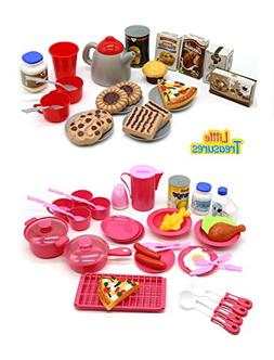 Little Treasures Mini Size Toy Dishes Food and Drinks, Meal
