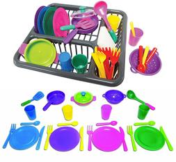 Pretend and Play Childrens Kitchen Dishes Set for Kids, 27 P