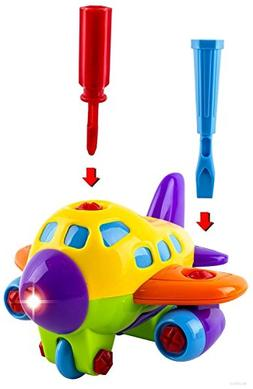 WolVol Take-A-Part Toy Airplane with Lights and Sounds for K