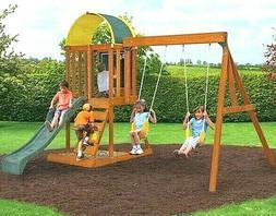 KidKraft Ainsley Wooden Swing Play Set Child Rock Wall Slide