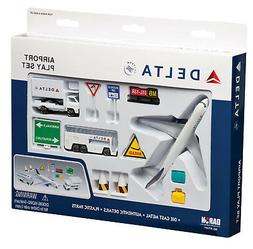 """Airport Play Set Delta Airlines """"New Color"""" 13 Pieces"""