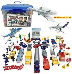 Airport Playset - 57 Piece Kids Playset In Storage Bucket Wi