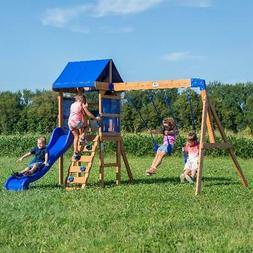 wooden swing set kids cedar playground slide
