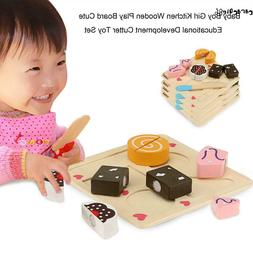 Baby Kitchen Pretend Role Play Set Cutting Food Wood Educati