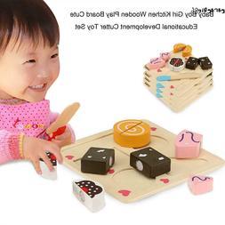 Baby Kitchen Pretend Role Play Set Cutting Food Wood Educati