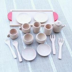 Baby Nature Beech Wood Tea Set Wooden Toys Cup Pretend Play