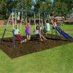 Metal Swing Set Playground Backyard Kids Outdoor Playset Sli