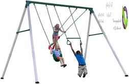 Backrd Discovery Big Brutus Heavy Duty Metal Swing Set, Whit