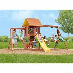 backyard cedar wooden big playground clubhouse playset